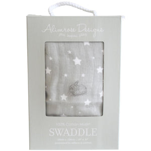 Muslin Swaddle Stars & Bunnies Grey