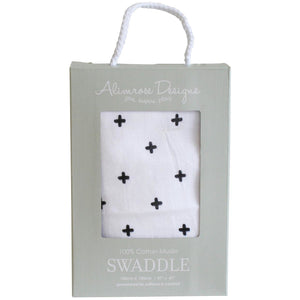 Muslin Swaddle Crosses Black