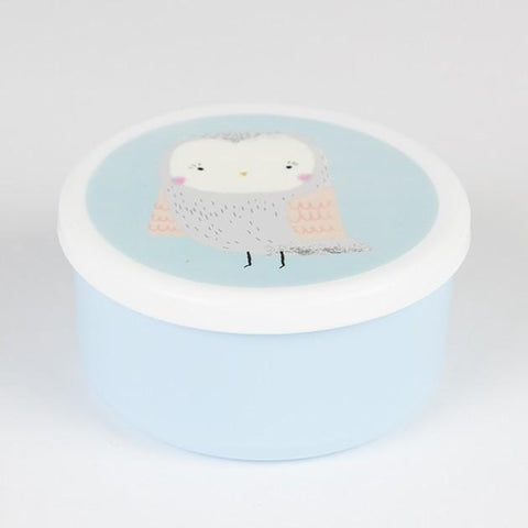 Snack Box Round Owl Blue
