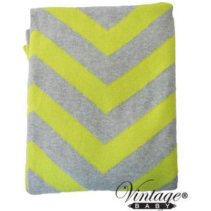 Chevron Cot Blanket Grey Yellow