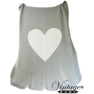 Heart Knit Blanket White