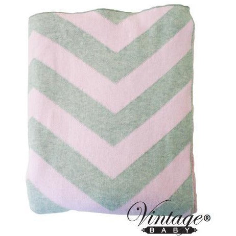 Chevron Cot Blanket Grey Pink