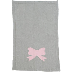 Bow Knit Blanket Pink