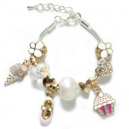 Gold Pink Ice Cream Charm Bracelet