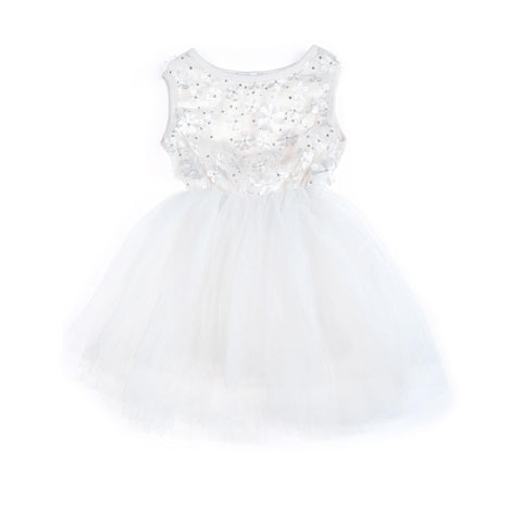 Sparkle Flower Tutu Dress Primrose - Icing White