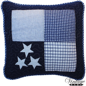Navy Star Square Cushion