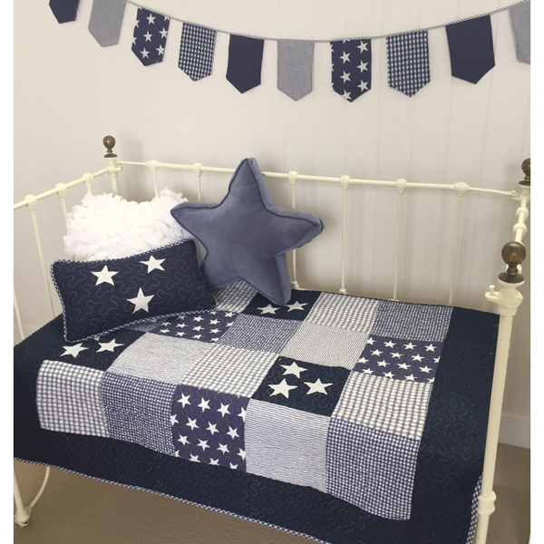 Navy Star Coverlet Quilt