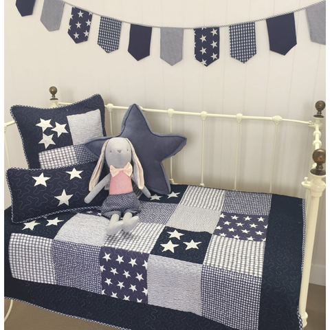 Navy Star Cot Quilt