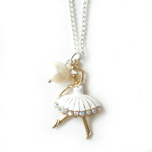 White and Gold Ballerina Necklace