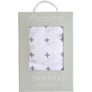 Muslin Swaddle Crosses Charcoal