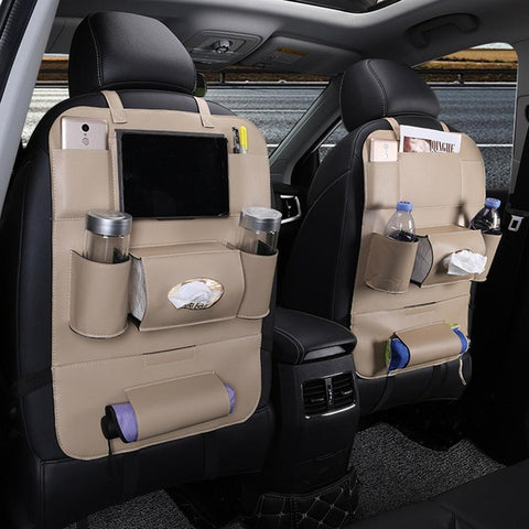 Leather Car Seats >> Leather Back Seat Organizer For Car Seat With Pockets And Ipad