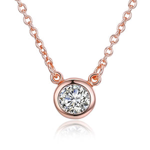Women's Round Crystal Pendant Necklace