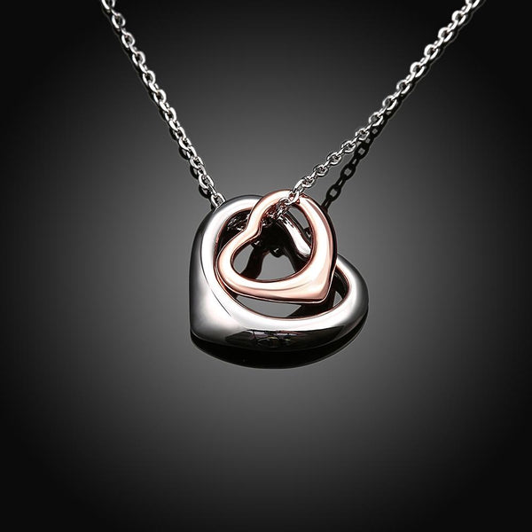 Women's Hollow Double Heart Pendant Necklace