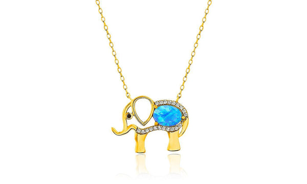 Women's Opal Stone-Crystal Elephant Pendant Necklace - Gold