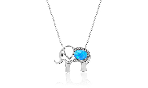 Women's Opal Stone-Crystal Elephant Pendant Necklace - White Gold