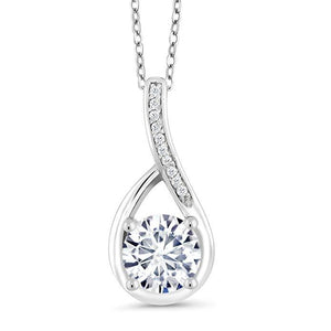 Women's Hollow Crystal Teardrop Pendant Necklace