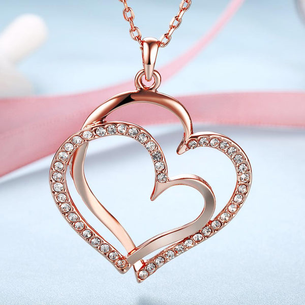 Women's Crystal Double Heart Pendant Necklace - Rose Gold