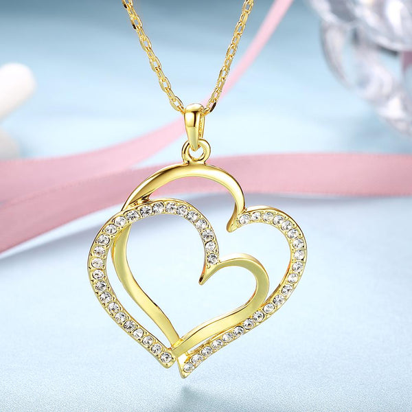 Women's Crystal Double Heart Pendant Necklace - Gold