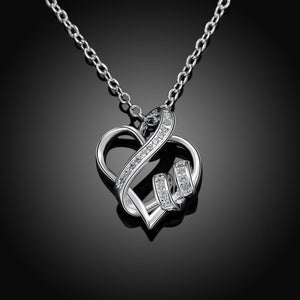 Women's Hollow Crystal Heart Pendant Necklace