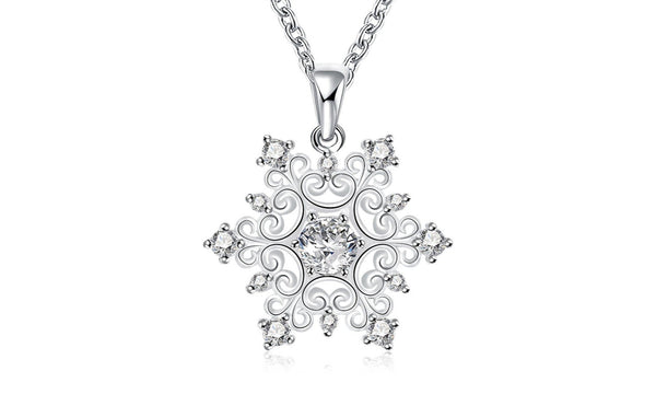 Women's Hollow Crystal Snowflake Pendant Necklace