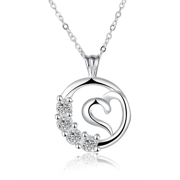 Women's Hollow Curved Heart Pendant Necklace