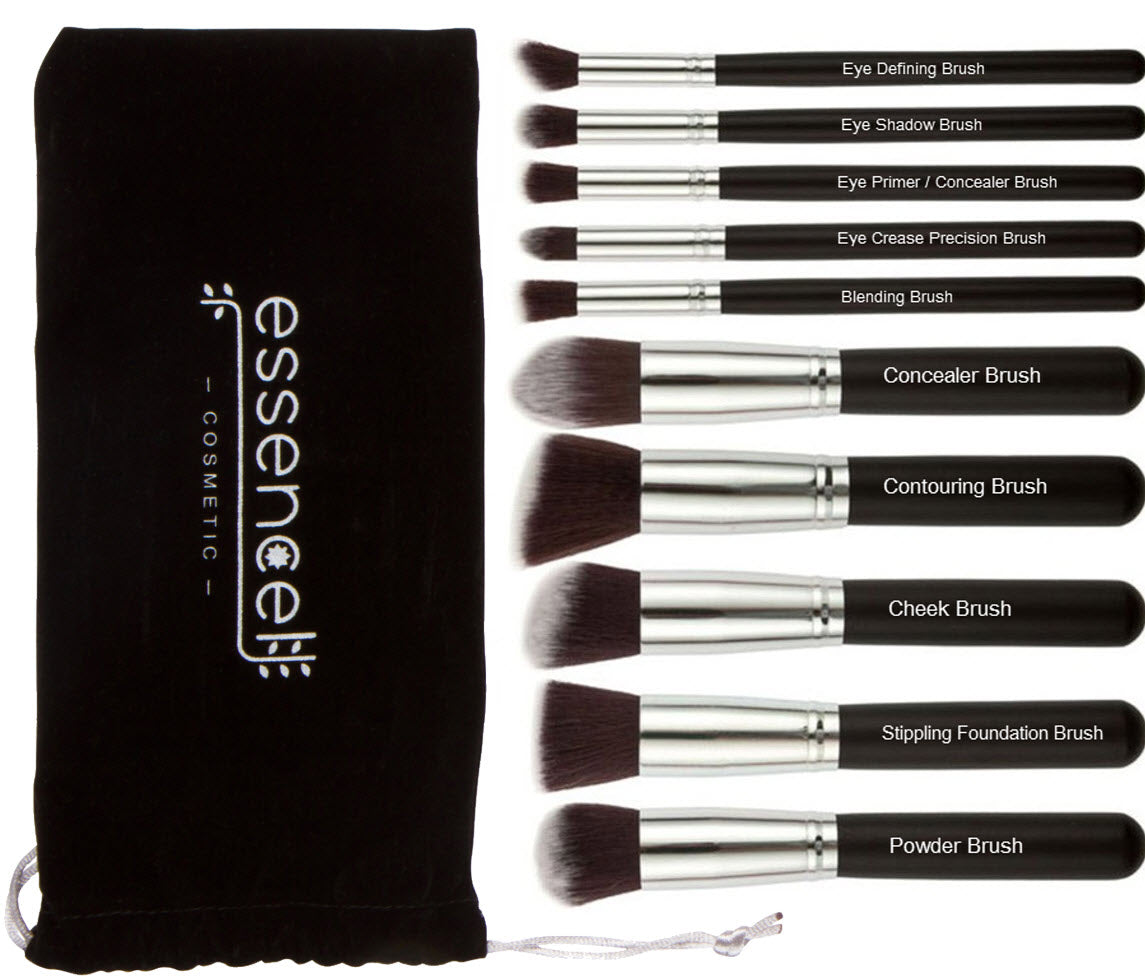 Premium Synthetic Kabuki Cosmetic Makeup Brush Set -Foundation,Powder, Blending Blush Bronzer, Concealer Contour, Eye Shadow Makeup Brushes Kit (10PCs, Black Sliver)