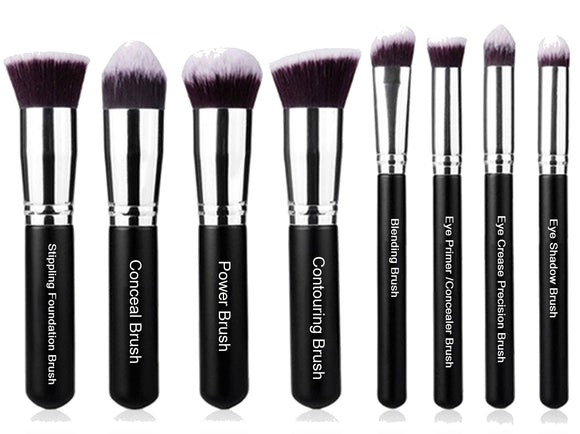 Premium Synthetic Kabuki Cosmetic Makeup Brush Set -Foundation,Powder, Blending Blush Bronzer, Concealer Contour, Eye Shadow Makeup Brushes Kit (8PCs, Black Sliver)