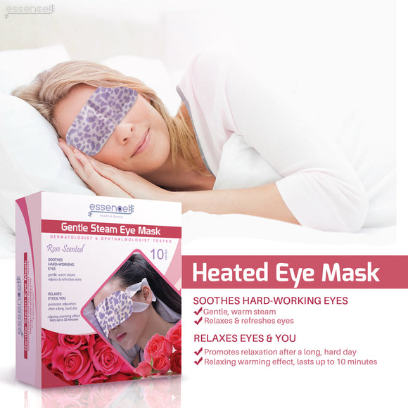 Heated Sleeping Eye Mask for Tired , Dry Puffy Eyes , Dark Circles, Disposable Travel Eye Mask for  Spa, Stye treatment , -Rose Scented Heating Eye Mask