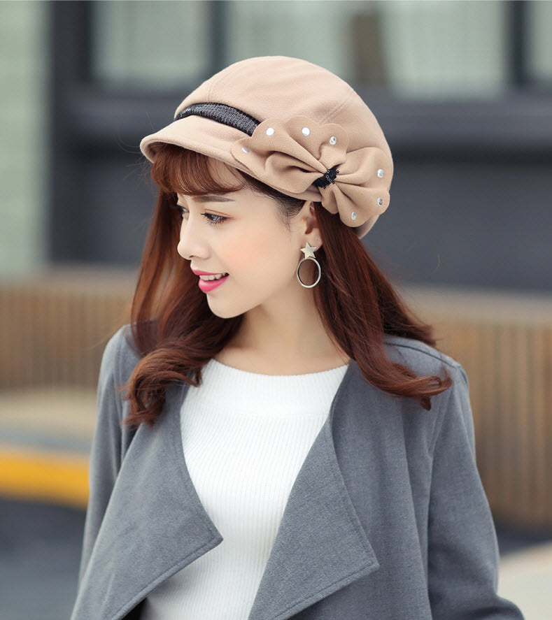 Women Fashion Trend French Beret Autumn Winter Warm Soft Hat Lady Simple Lace bowknot Chic Short Edge Cap