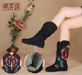 Hand-embroidered flat boots Fashion shoes  Melaleuca soles shoes -Black