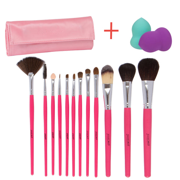 Essencell 12 Pieces Makeup Brush Set, Pink with Makeup Blender Sponge and Travel Essentials Case