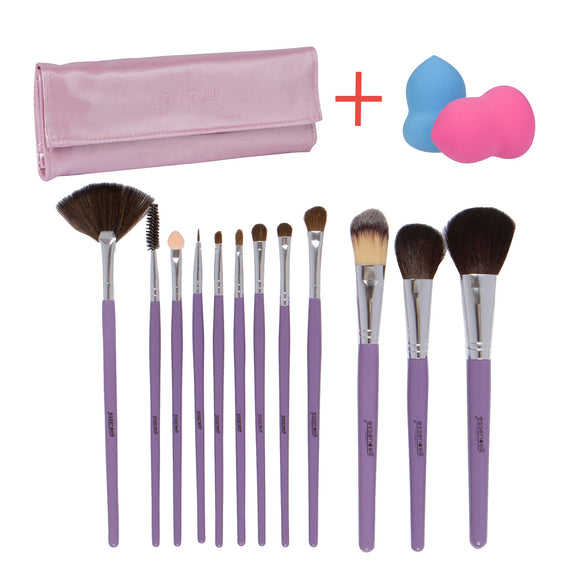 Essencell 12 Pieces Makeup Brush Set, Light Purple with Makeup Blender Sponge and Travel Essentials Case