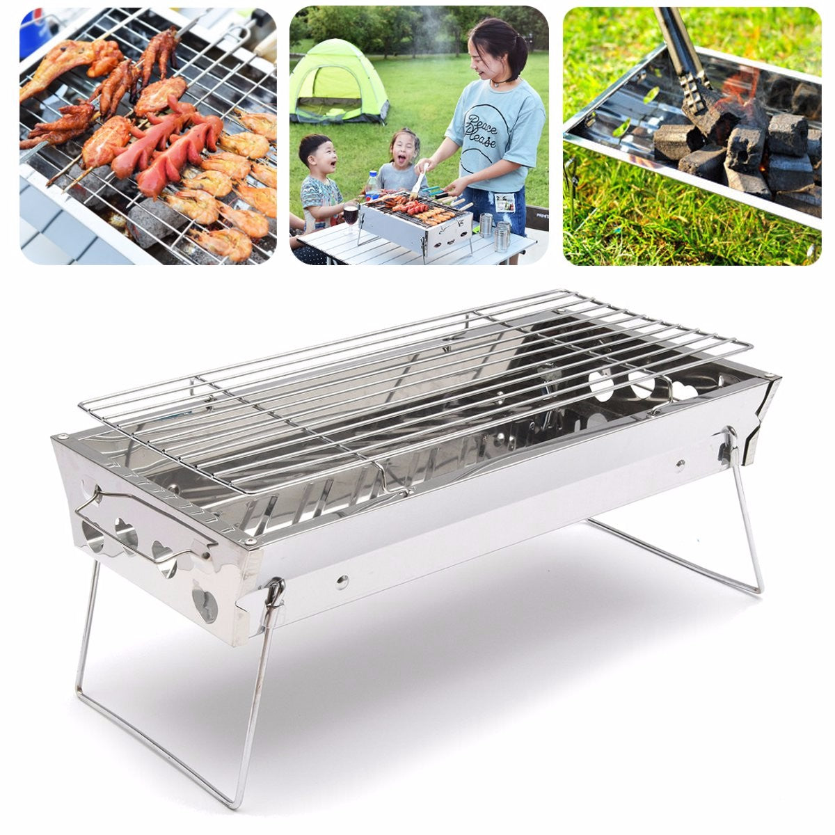 Stainless Steel Portable Outdooors Camping Table Top Barbecue Grill