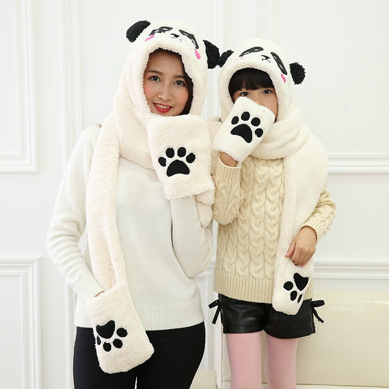 Soft Winter Warm Cute Panda Hoodie Faux Fur 3 in 1 Function Hat Scarf Mitten Pockets Gloves