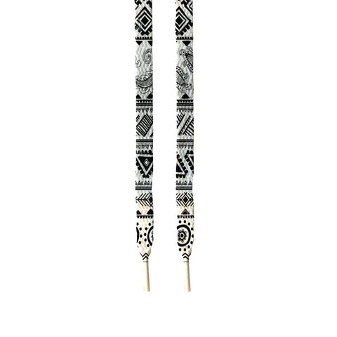 Black white aztec printed shoe Laces - FashionGorilla
