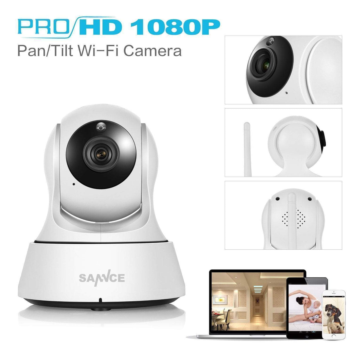1080P HD Wireless Wi-Fi Smart Security CCTV Camera  -  With 1m Power Cable / US Plug  -  Honey Locker -  Gadget