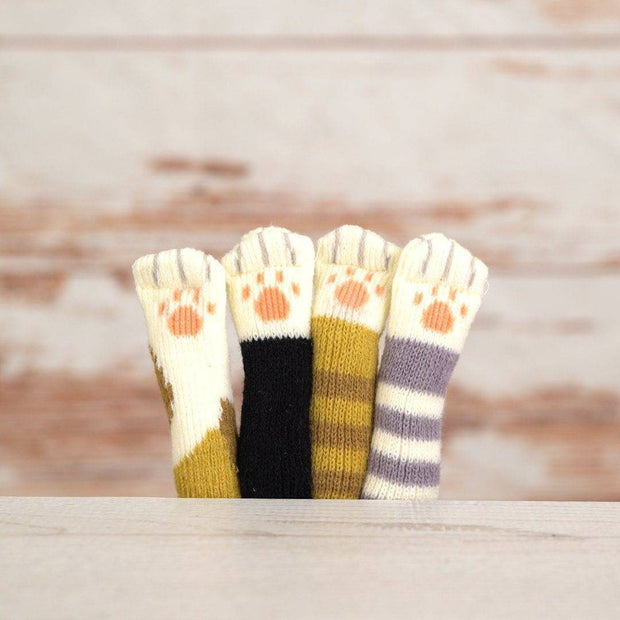 Cat Paw Chair Socks (4 Pack)  -  Black  -  Honey Locker -  Chair Socks