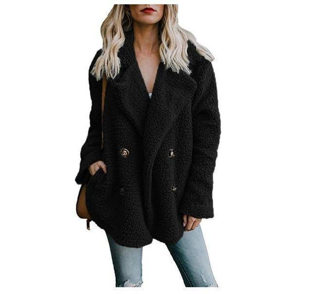 Cozy  Fuzzy Fleece Cardigan Coat  -  Black / S  -  Honey Locker -  Coat