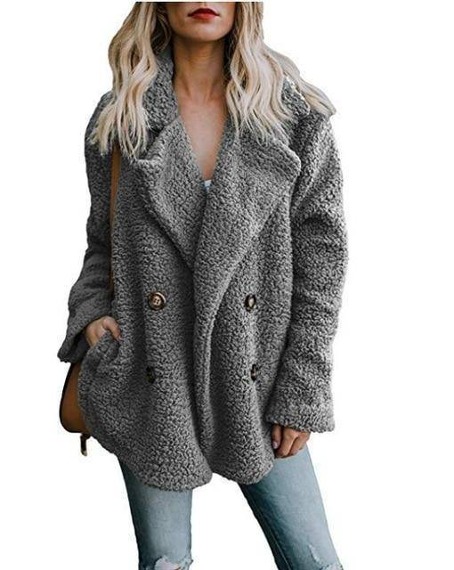 Cozy  Fuzzy Fleece Cardigan Coat  -  Dark Grey / S  -  Honey Locker -  Coat