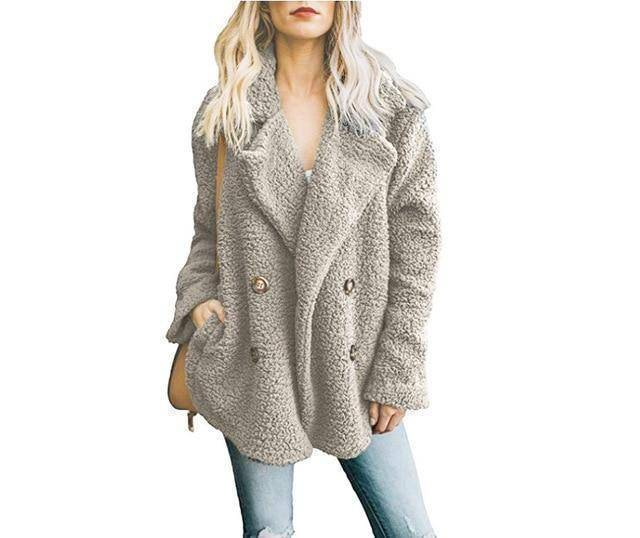 Cozy  Fuzzy Fleece Cardigan Coat  -  Gray / S  -  Honey Locker -  Coat