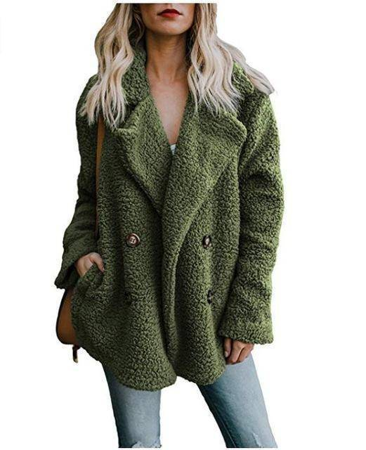 Cozy  Fuzzy Fleece Cardigan Coat  -  Green / S  -  Honey Locker -  Coat