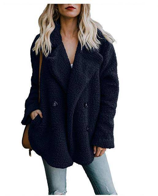 Cozy  Fuzzy Fleece Cardigan Coat  -  Navy Blue / S  -  Honey Locker -  Coat