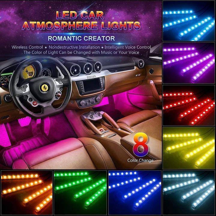 LED Interior Car Lights - All Colors, Music Activation, & Wireless Remote Control  -  1 Set - 4 Strips (Save 50%)  -  Honey Locker -  Decorative Lamp