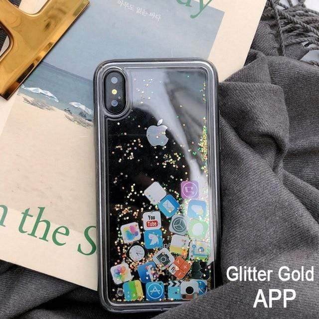 Pandora iPhone Case - Quicksand App Icons  -  APP Glitter gold / For Iphone 6  -  Honey Locker -  iPhone Case