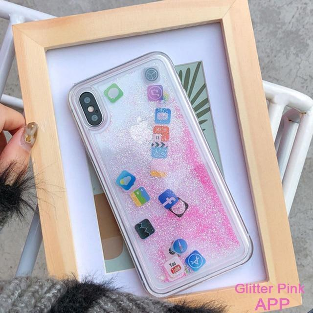 Pandora iPhone Case - Quicksand App Icons  -  APP Glitter pink / For Iphone 6  -  Honey Locker -  iPhone Case
