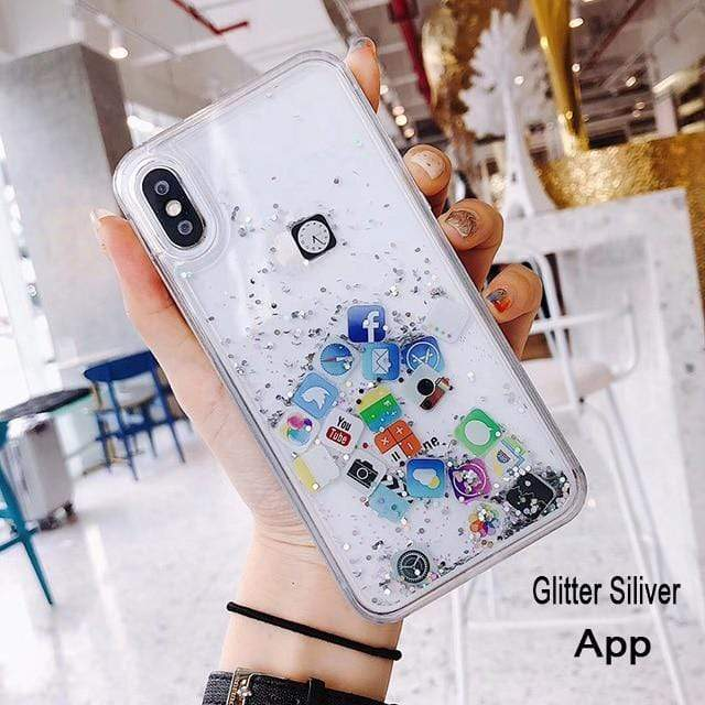 Pandora iPhone Case - Quicksand App Icons  -  APP Glitter siliver / For Iphone 6  -  Honey Locker -  iPhone Case