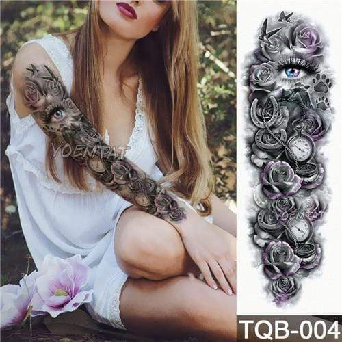 Temporary Waterproof Tattoo Sleeves For Adults  -  04  -  Honey Locker -  Temporary Tattoos