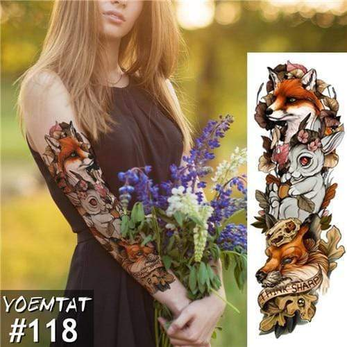 Temporary Waterproof Tattoo Sleeves For Adults  -  118  -  Honey Locker -  Temporary Tattoos