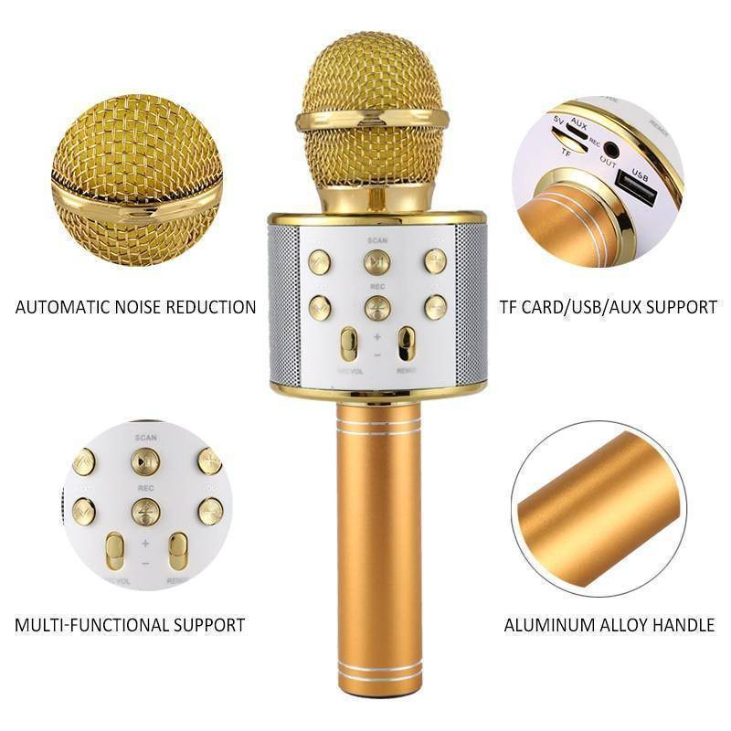 Wireless Bluetooth Karaoke Microphone  -  Rose Gold / BUY ONE  -  Honey Locker -  Hidden