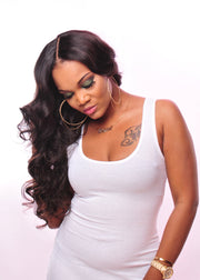PureGlamTress model wearing the best virgin hair bundle deals with Lace Closure